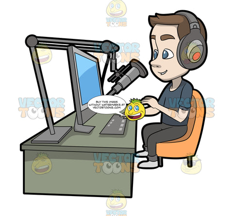 A Male Host Recording A Podcast