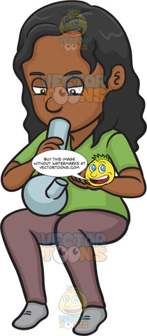 A Black Woman Lighting A Marijuana Bong