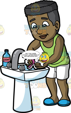 A Man Washing His Hands With Soap. A black man wearing white shorts, a green tank top, and blue shoes, standing at a sink and using a bar of soap to clean his hands