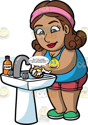 A Woman Washing Her Hands. A Hispanic woman wearing pink shorts, a blue tank top, and green shoes, standing at the bathroom sink washing her hands with soap