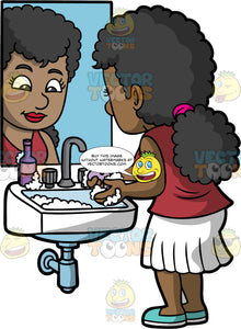 A Woman Washing Her Hands With A Bar Of Soap. A black woman wearing a white skirt, a burgundy shirt, and light blue shoes, standing at a sink and using a bar of soap to clean her hands