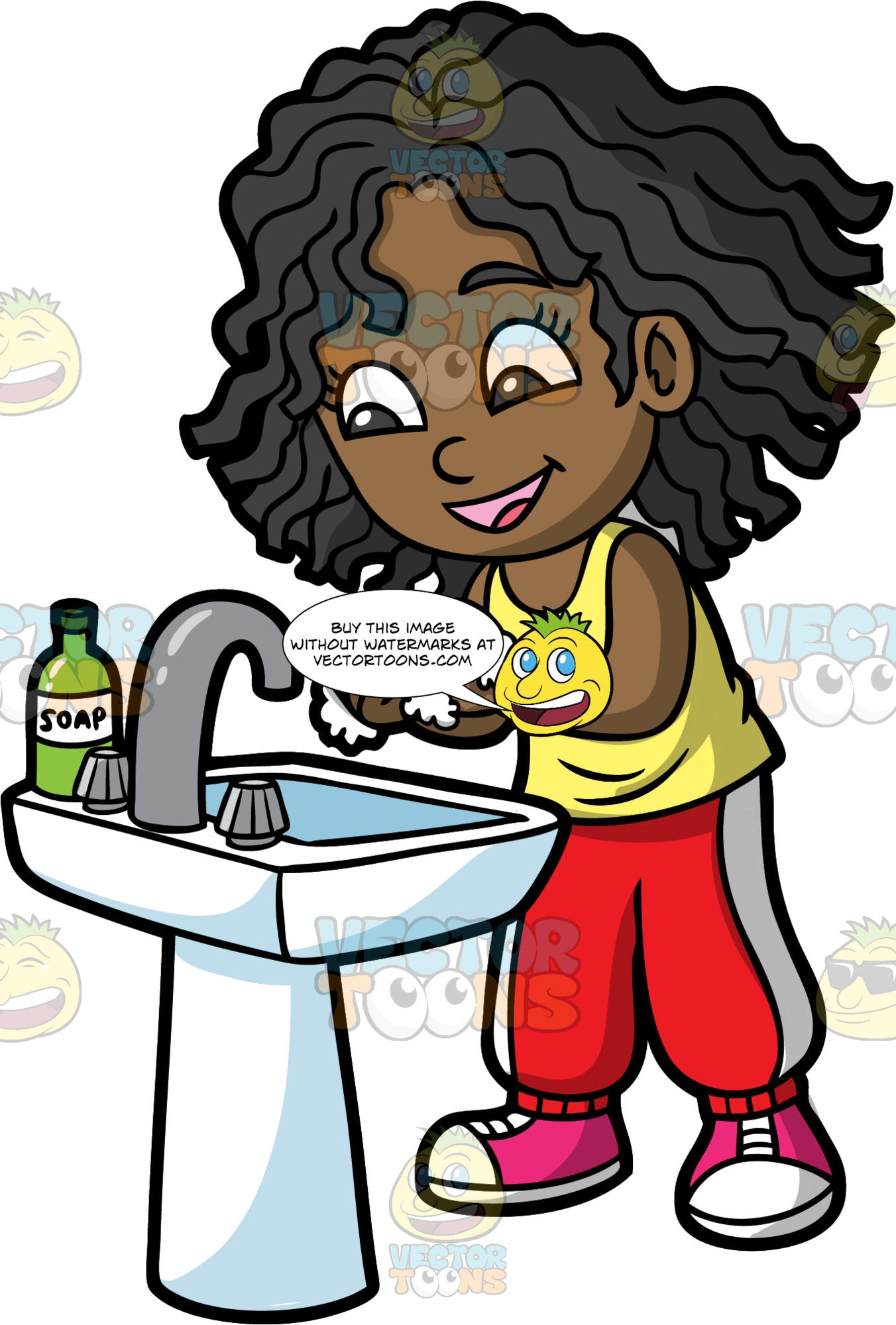 A Girl Washing Her Hands With Soap. A black girl wearing red and white track pants, a yellow tank top, and pink sneakers, standing at the sink washing her hands with soap