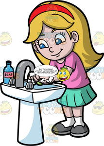 A Little Girl Washing Her Hands. A girl wearing a pale green skirt, a pink t-shirt, and gray shoes, standing at a sink and using a bar of soap to thoroughly wash her hands