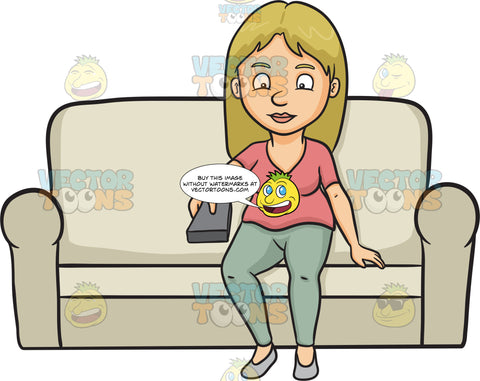 A Woman Holding A Remote Control