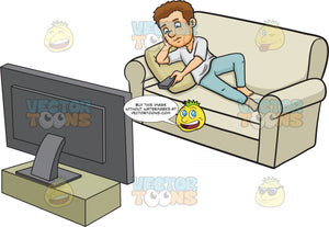 A Man Relaxes While Watching Tv At Home