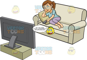 A Woman Relaxes While Watching Tv At Home