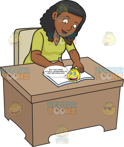 A Black Woman Writing On Her Journal