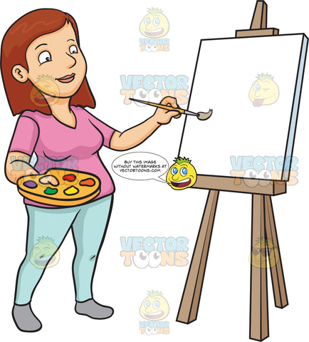 A Woman Painting On A Blank Canvas