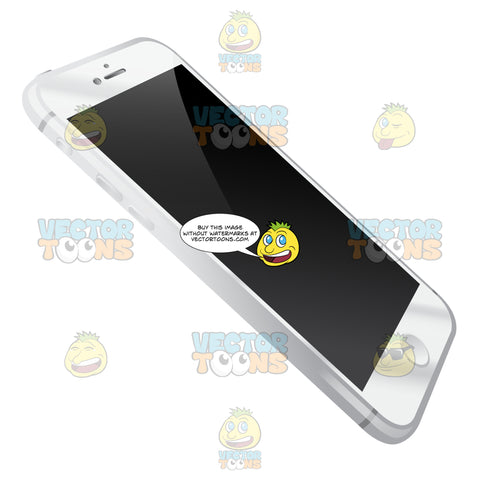 Perspective Vector Image Of Sleek White Iphone With Light Silver Sides