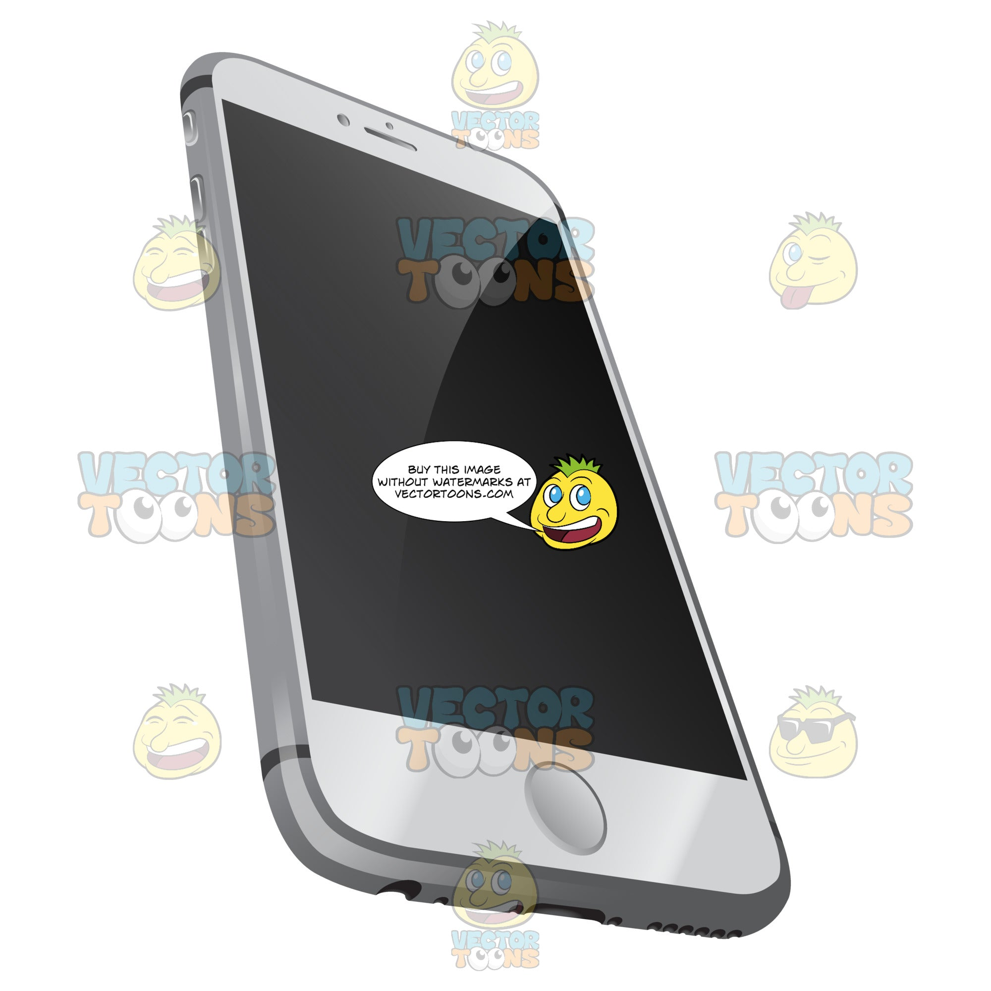 Perspective Vector Image Of Sleek White Mobile Phone With Chrome Sides