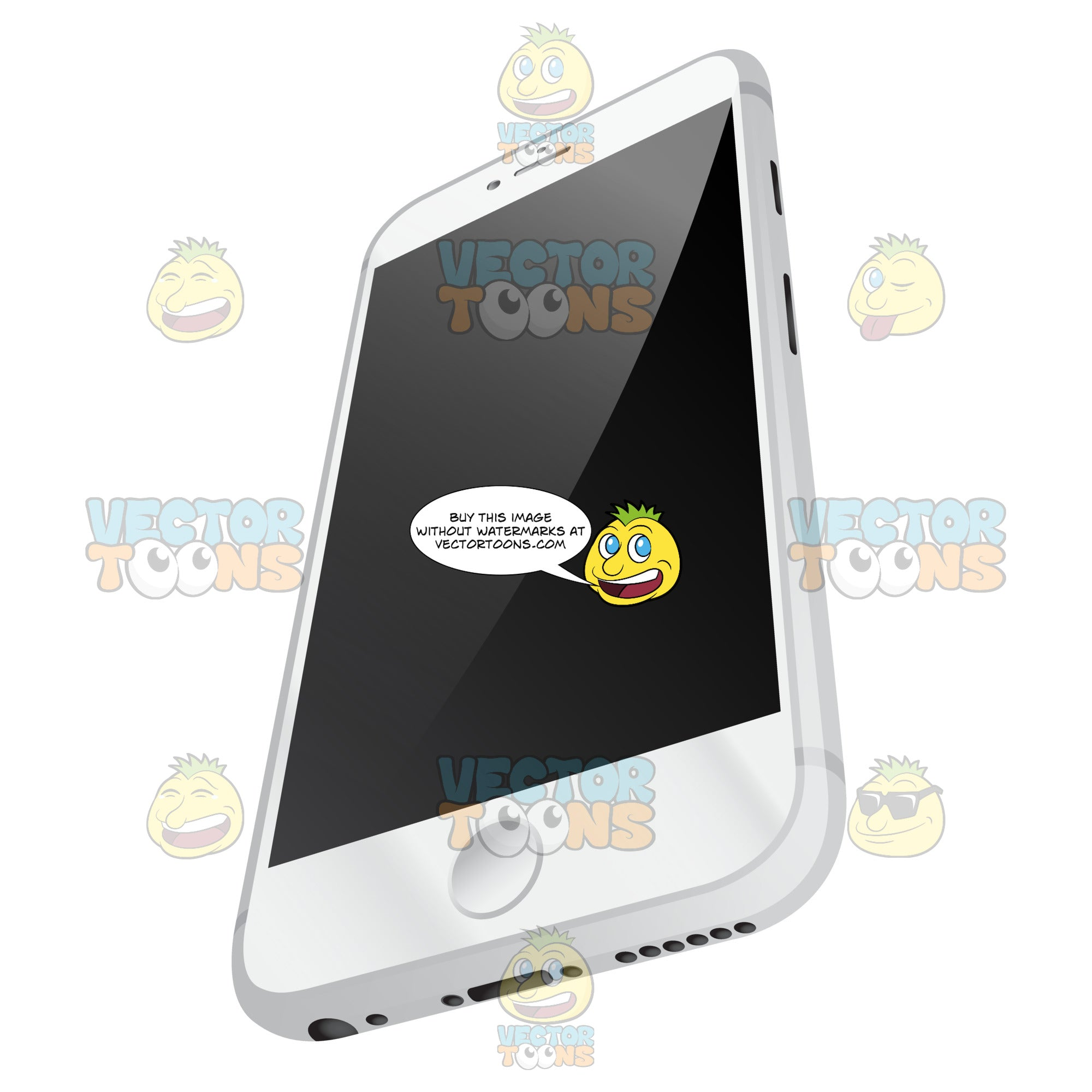 Perspective Vector Image Of Sleek White Mobile Phone With Silver Sides