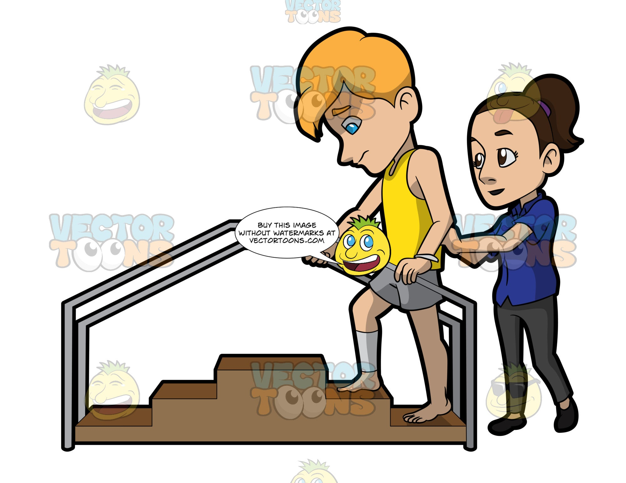 A Female Physical Therapist Helping A Man Climb The Steps Clipart Cartoons By Vectortoons