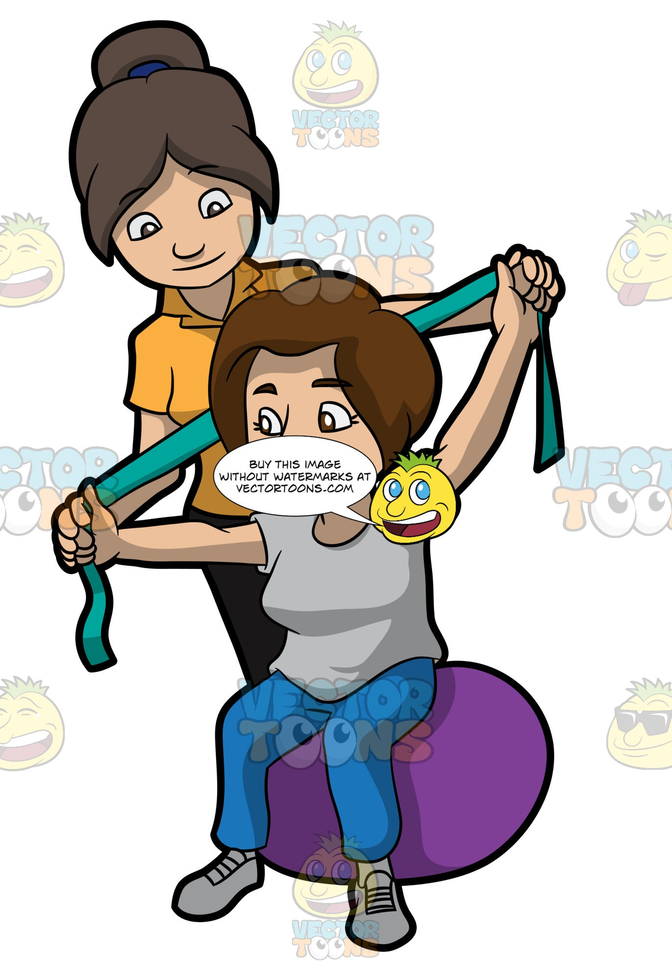 A Female Physical Therapist Helping A Patient Stretch Her Arms Clipart Cartoons By Vectortoons