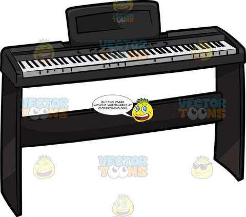 An Electric Keyboard With Stand