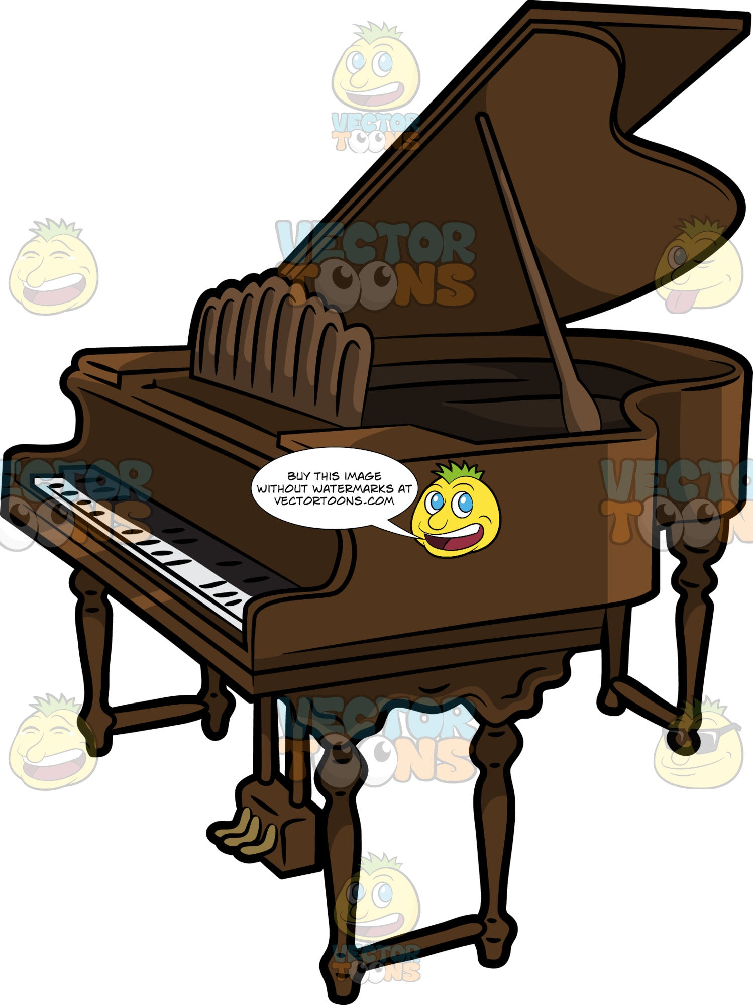 A Vintage Baby Grand Piano Clipart Cartoons By Vectortoons