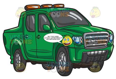A Green Pick Up Truck With Fog Lamps