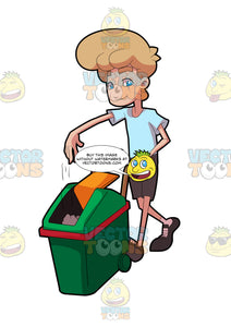 A Man Pushing A Trash Bin