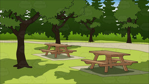 Picnic Tables In A Park Background