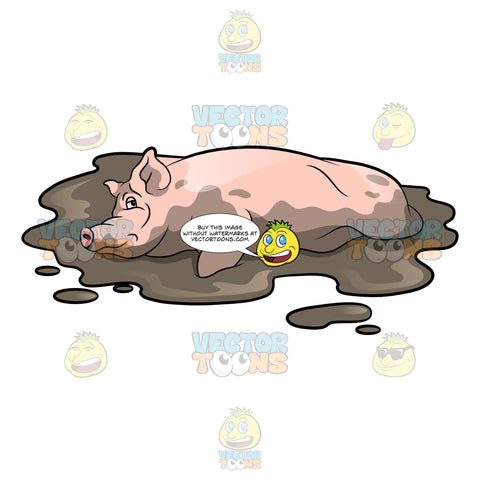 A Tired Pig Resting On A Muddy Surface