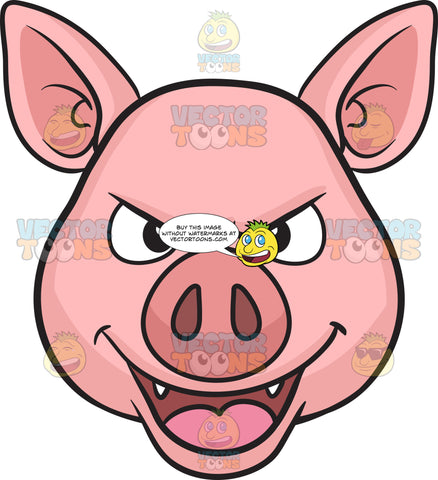 Pig evil. Royalty free images tagged