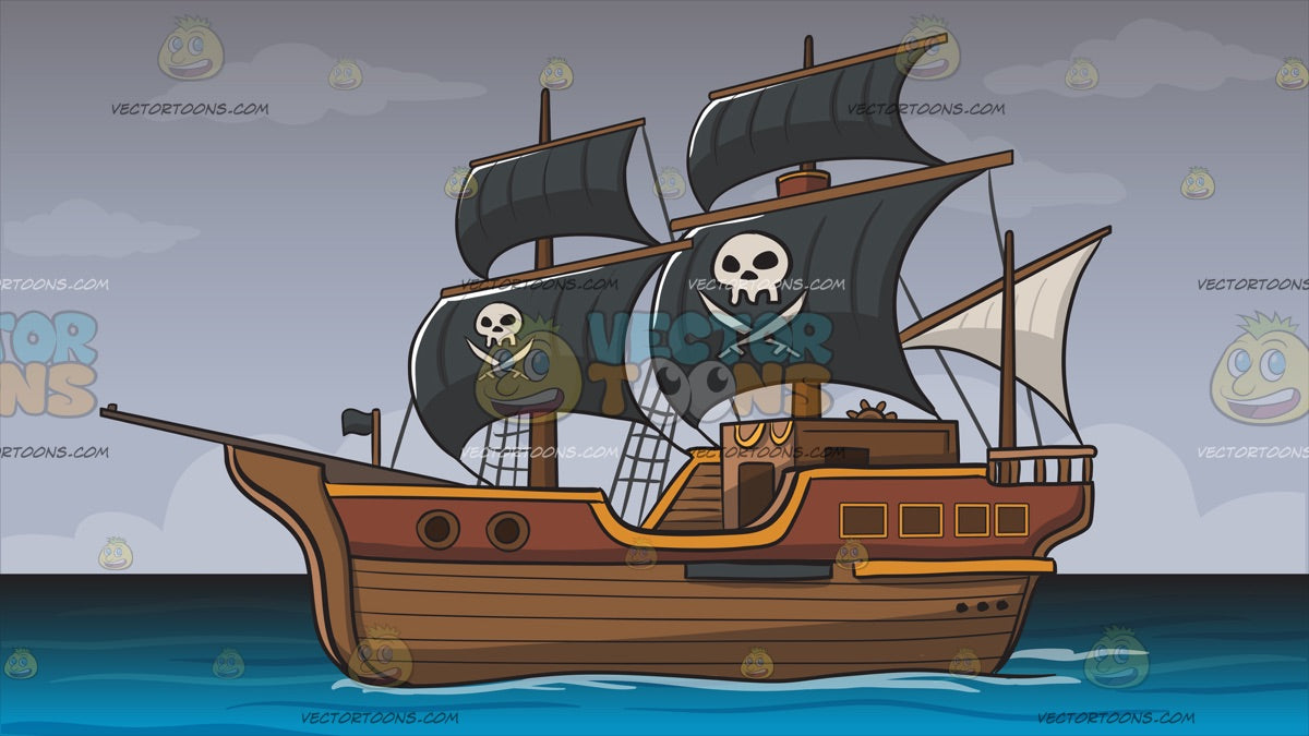 Pirate Ship Background – Clipart Cartoons By VectorToons