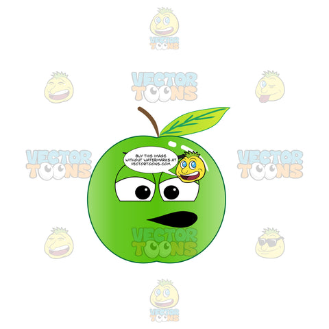 Pissed And Nagging Green Apple Emoji