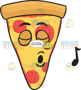Slice Of Pepperoni Pizza Singing With Pleasure Emoji