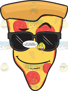 Slice Of Pepperoni Pizza Wearing Sunglasses Emoji