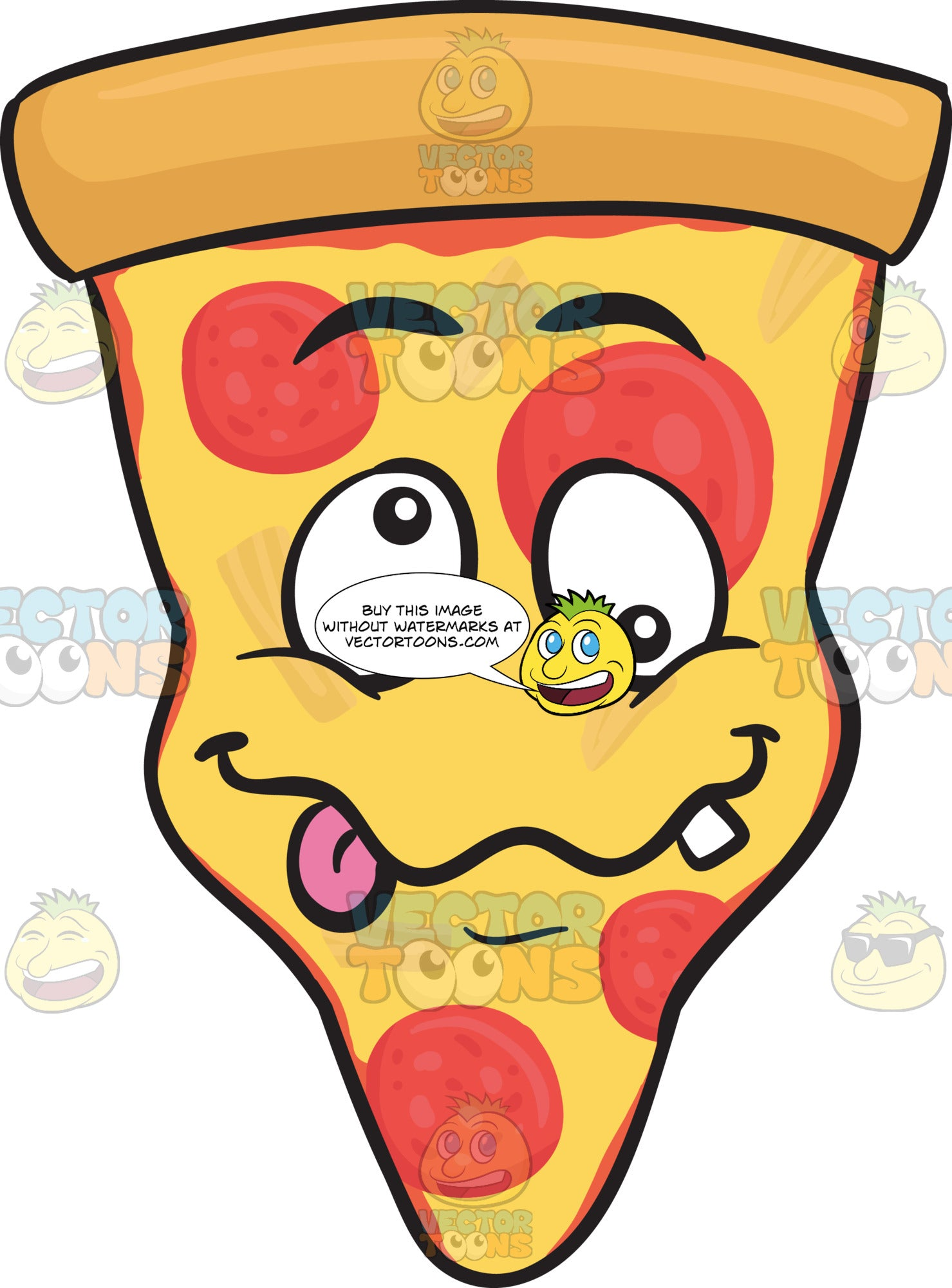 Crazy-Looney Looking Slice Of Pepperoni Pizza Emoji