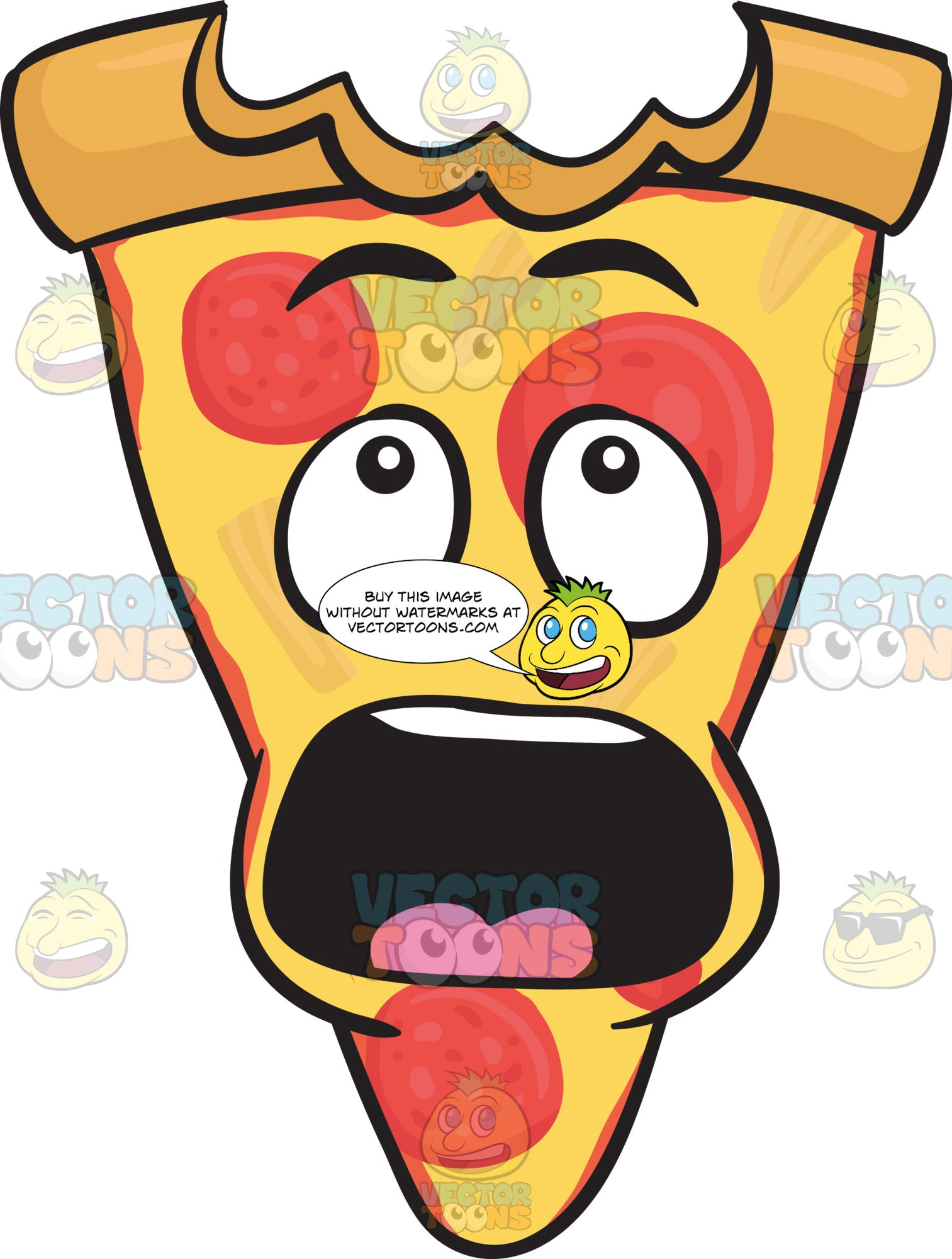 Slice Of Pepperoni Pizza Shocked With Big Bite Mark On Crust Emoji Clipart Cartoons By Vectortoons