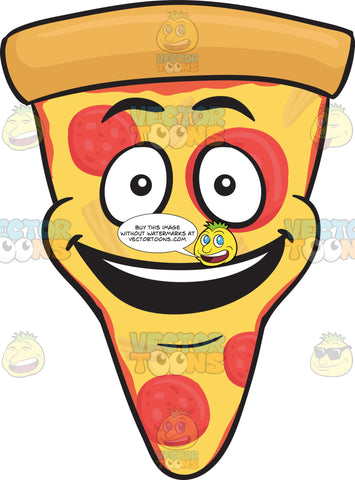 Slice Of Pepperoni Pizza With A Bright Look On Face Emoji