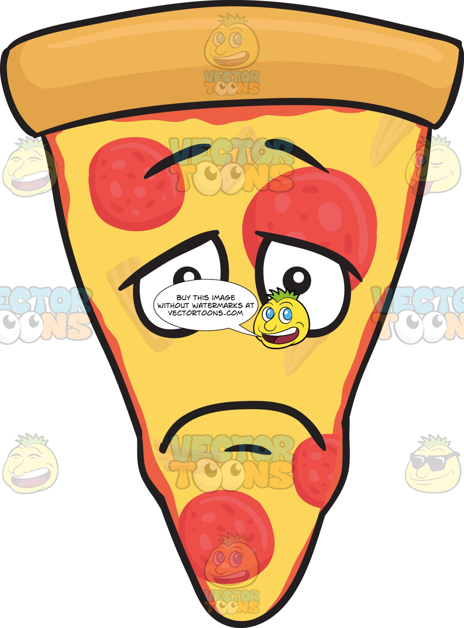 Slice Of Pepperoni Pizza With Depressed Look On Face Emoji