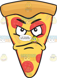 Upset And Angered Look On A Slice Of Pepperoni Pizza Emoji