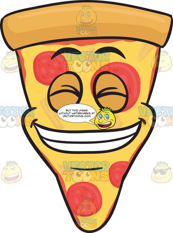 Slice Of Cheese Pizza Smiling With Teeth Out Emoji