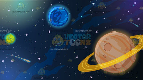 Planets In Outer Space Background