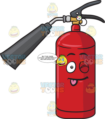 Playful Fire Extinguisher Winking And Sticking Out Tongue Emoji