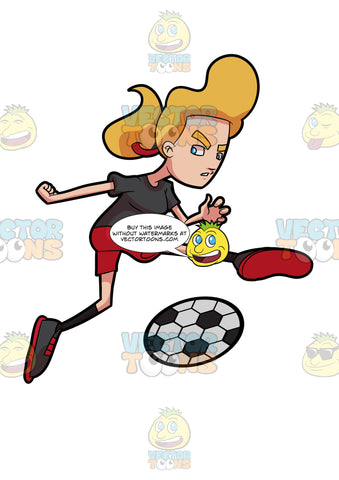 A Woman Kicking A Soccer Ball With Force