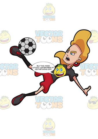 A Woman Falls Down As She Kicks A Soccer Ball