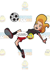 A Woman Jumps And Leans Down To Kick A Soccer Ball