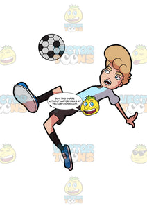 A Man Jumps And Leans Down To Kick A Soccer Ball