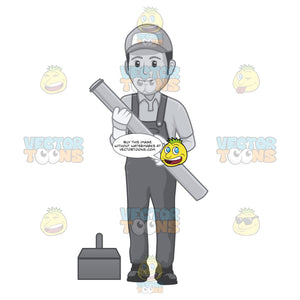 Plumber Happily Carries A Water Pipe