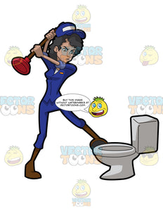 A Frustrated Female Plumber Trying To Fix A Clogged Toilet Seat