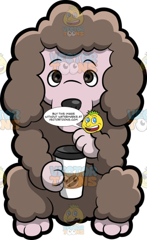 A Poodle Drinking A Fresh Cup Of Coffee