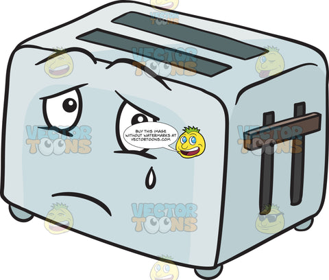 Pop Up Toaster Expressing Sadness With A Tear Emoji
