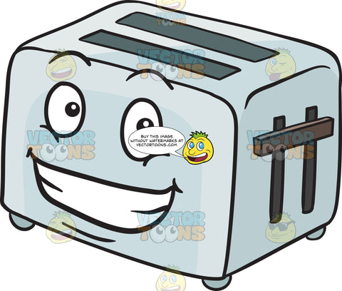 Pop Up Toaster With Huge Grin On Face Emoji