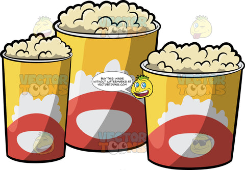 Three Different Buckets Of Popcorn
