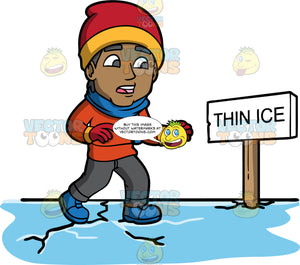 On Thin Ice. A black man wearing dark gray pants, an orange sweater, red gloves, a blue scarf, a red and yellow hat, and blue boots, walking on thin ice that is starting to crack