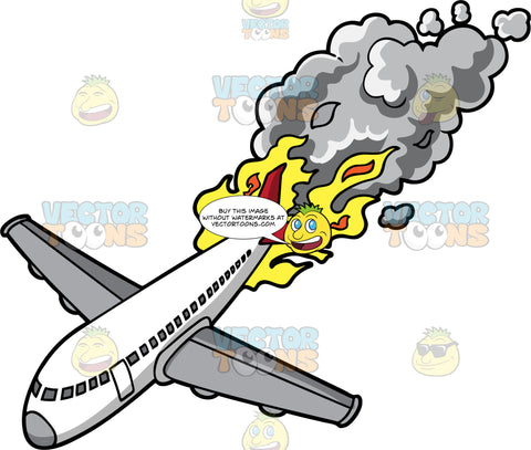 Go Down In Flames. A gray and white jet airplane falling from the sky with flames and smoke coming out the back of the plane