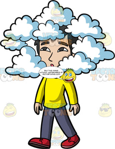 Have Your Head In The Clouds. An Asian man wearing dark gray pants, a long sleeve yellow shirt, and red shoes, walking with clouds surrounding his head