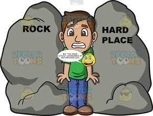 Caught Between A Rock And A Hard Place. A man wearing blue pants, a green t-shirt, and brown shoes, stuck between a rock and a hard place